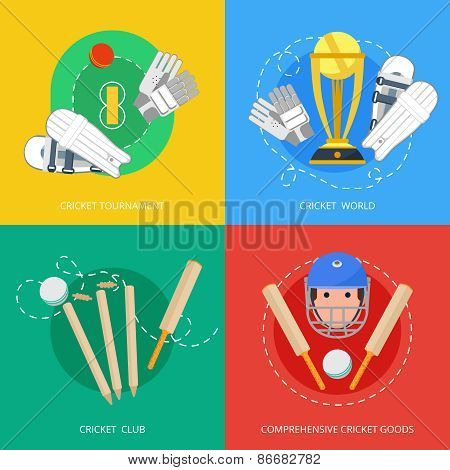 Cricket 4 flat icons composition