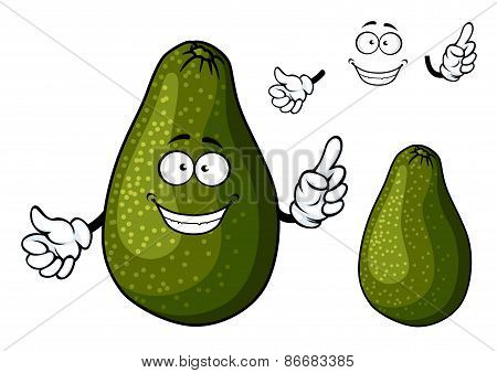 Smiling ripe green avocado fruit character