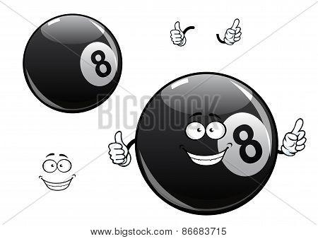 Cartoon billiards, snooker, pool eight ball character