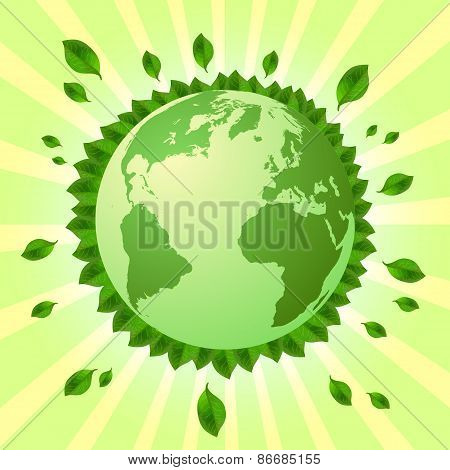 Postcard On April 22 - Earth Day. Globe With Green Leaves Around