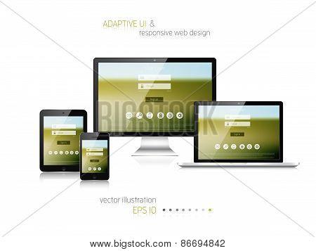Responsive web design. Adaptive user interface. Digital devises. Laptop, tablet, monitor, smartphone. Web site template concept. poster