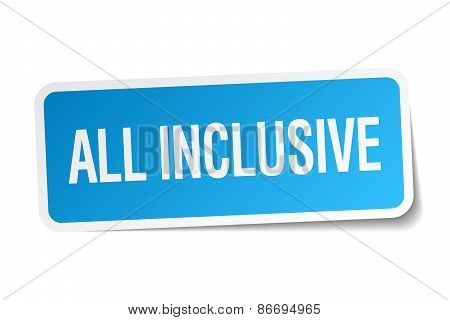 All Inclusive Blue Square Sticker Isolated On White