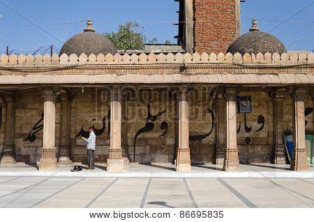 Ahmedabad, India - December 28, 2014: Muslim People At Jama Masjid