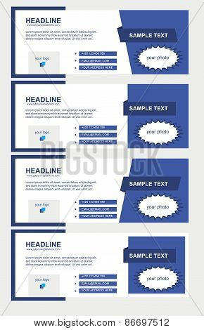 Vector Set Of Facebook Timeline Blue Covers