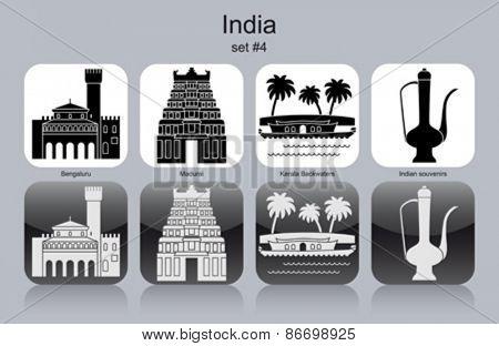 Landmarks of India. Set of monochrome icons. Editable vector illustration.