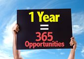 1 Year = 365 Opportunities card with sky background poster