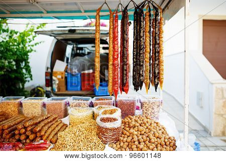 Traditional Cypriot Sudzukos or Georgian sausage-shaped candies the churchkhela