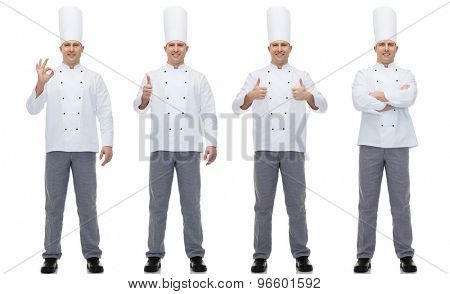 cooking, profession, gesture and people concept - happy male chef cook showing ok and thumbs up hand sign poster