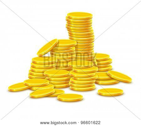 Gold coins cash money in rouleau. Eps10 vector illustration. Isolated on white background
