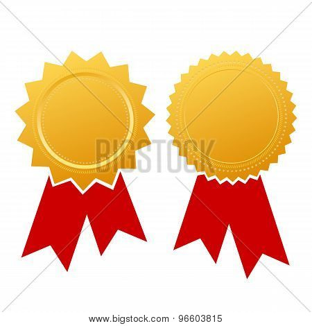 Blank ribbon certificate isolated on white background poster
