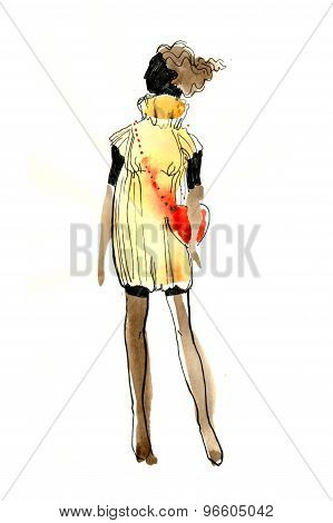 watercolor sketch of a girl in a dress and red bag