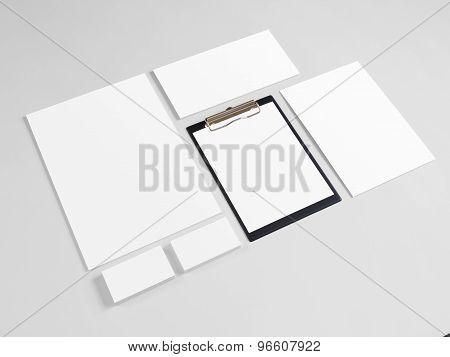 Blank stationery set with business cards and envelopes. Corporate identity template mock-up. poster