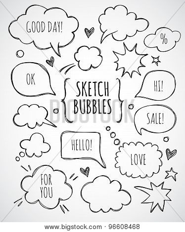 Vector hand drawn set of sketch speech bubbles clouds rounds hearts thought bubbles design elements