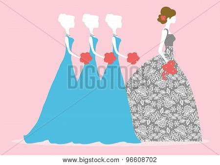 Vector Illustration Of A Bride And Three Bridesmaids
