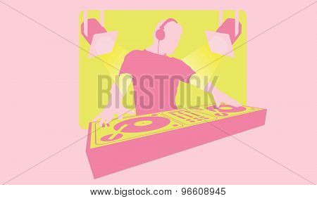 Silhouette Of A Dj With Headphones Mixing At Turntable