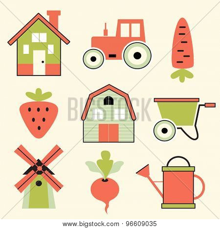 Set of agricultural icons (vector illustration, flat concept)
