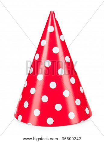 Red Party Hat Isilated On A White Background