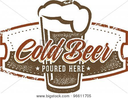 Vintage Style Cold Beer Bar Sign
