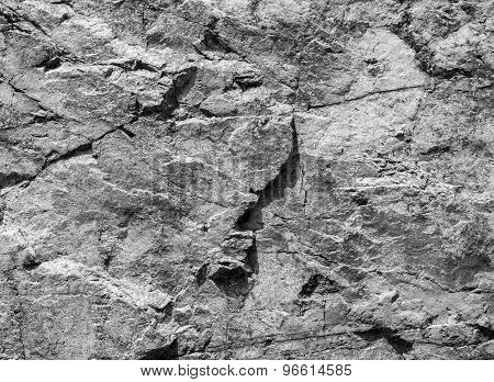 Rough Gray Rock Wall, Stone Texture