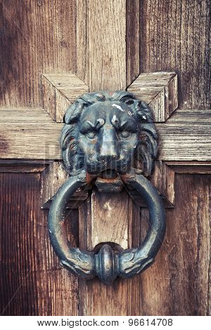 Old Doorknob In Shape Of Lion Head