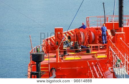 Bow Fragment With Equipment Of Lpg Tanker