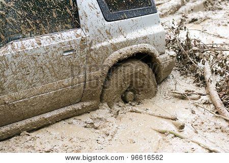 Car stuck in mud, 4x4 car stuck poster