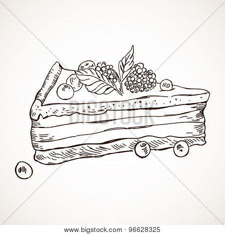 Hand drawn vector sketch sweet cake tart pie chocolate dessert bakery