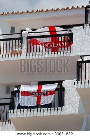 British abroad display English St George flag