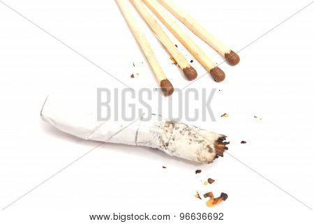 Matches And Butt With Filter On White