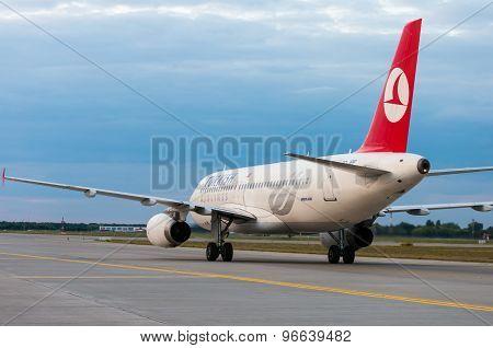 KIEV, UKRAINE - JULY 10, 2015: Turkish Airlines Airbus A320 at Borispol International Airport, Kiev,