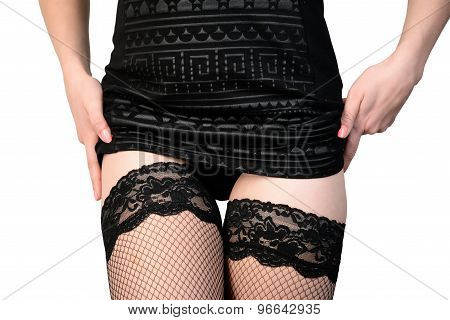 seductive woman in stockings