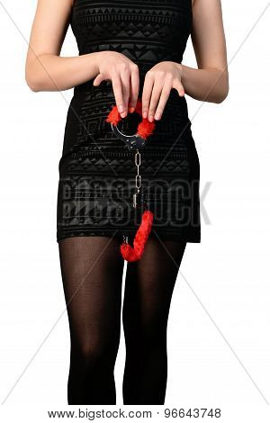 seductive woman in tights with handcuffs