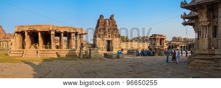 HAMPI, INDIA - 30 JANUARY 2015: Ruins of Hampi are a UNESCO World Heritage Site. Achyutaraya Temple.