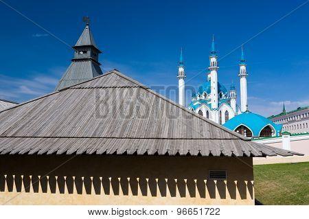 Kul Sharif (Qolsherif Kol Sharif Qol Sharif) Mosque in Kazan Kremlin. Main Jama Masjid in Kazan and Republic of Tatarstan. One of the largest mosques in Russia. UNESCO World Heritage Site. poster