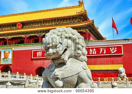 """Gate of Heavenly Peace- entrance to the Palace Museum in Beijing.Inscription-""""Long live the People's Republic of China! Long live the solidarity of the peoples of the world!"""".Tiananmen Square is a third large city square in the centre of Be poster"""