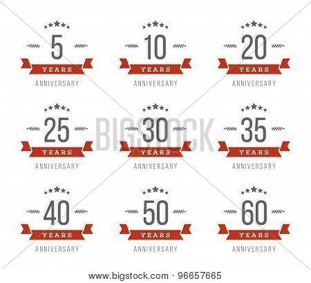 Vector set of anniversary signs, symbols. Five, ten, twenty, thirty, forty, fifty years jubilee desi