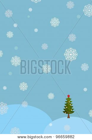 Winter Landscape Background. Snowdrifts And Christmas Tree. Falling Snowflakes. New Year And Christm