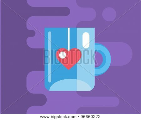 Blue cup. Vector icon. Tea, object or drink and food symbol. Stock design element.