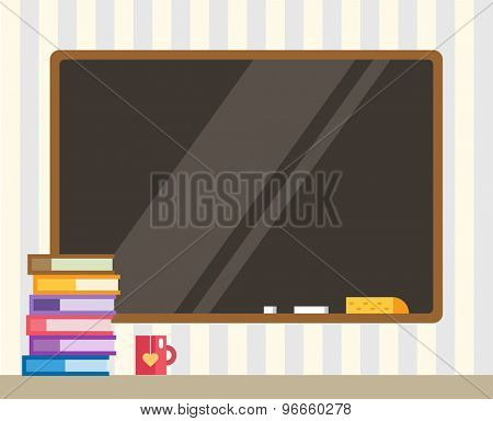 Books and black board. Back to school. Education objects, university, college symbols or knowledge, book. Stock design elements.