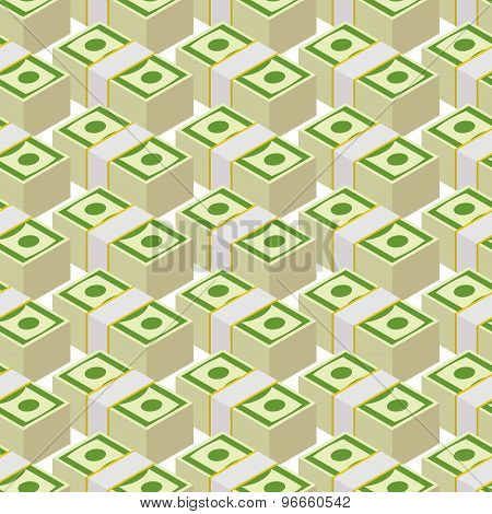 Bundle Money Seamless Pattern. Cash Dollars, Vector Background.