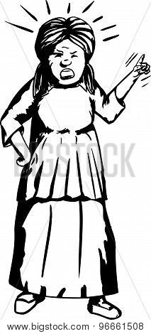Angry Woman Outline Illustration