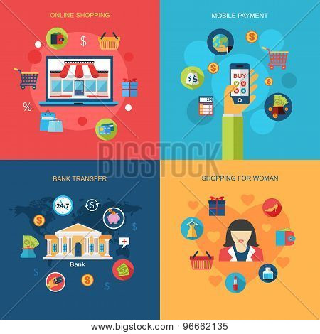 Set of Online shopping, Mobile payment, Shopping for woman, Bank transfer concepts. Flat  design. Infographic concept with place for text. Vector illustration. poster