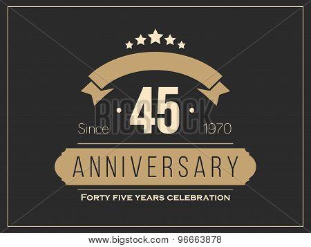Forty five years anniversary celebration logotype. 45th anniversary logo.