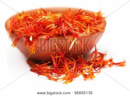 Safflower Petals On A Brown Bowl