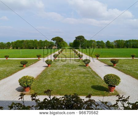 The park of the Emo villa in Fanzolo di Vedelago in the Veneto in Italy poster