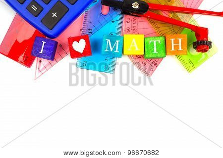 I HEART MATH toy blocks with school supplies border