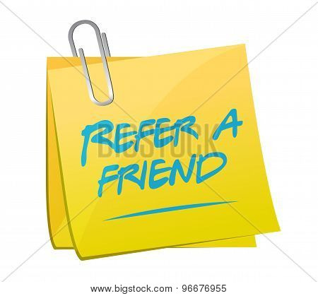 Refer A Friend Post Memo Sign Concept