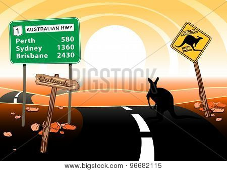 Kangaroo Standing On Road In The Australian Outback