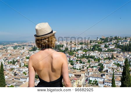 Blond Girl Looking At The Albaizin