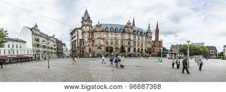 Town Hall Wiesbaden, In The Background A Steeple Of The Marktkirche